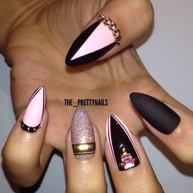 black and pastel pink stiletto nails photo - 2