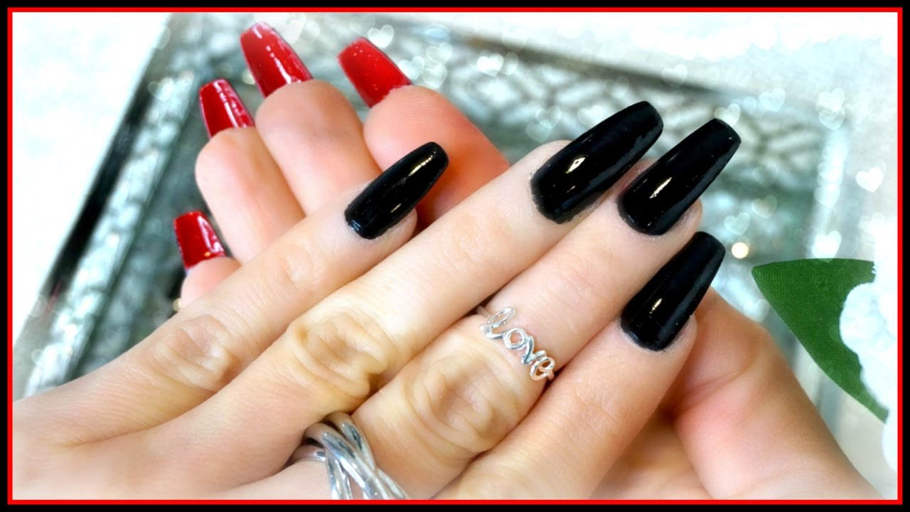 black and red coffin nails photo - 1