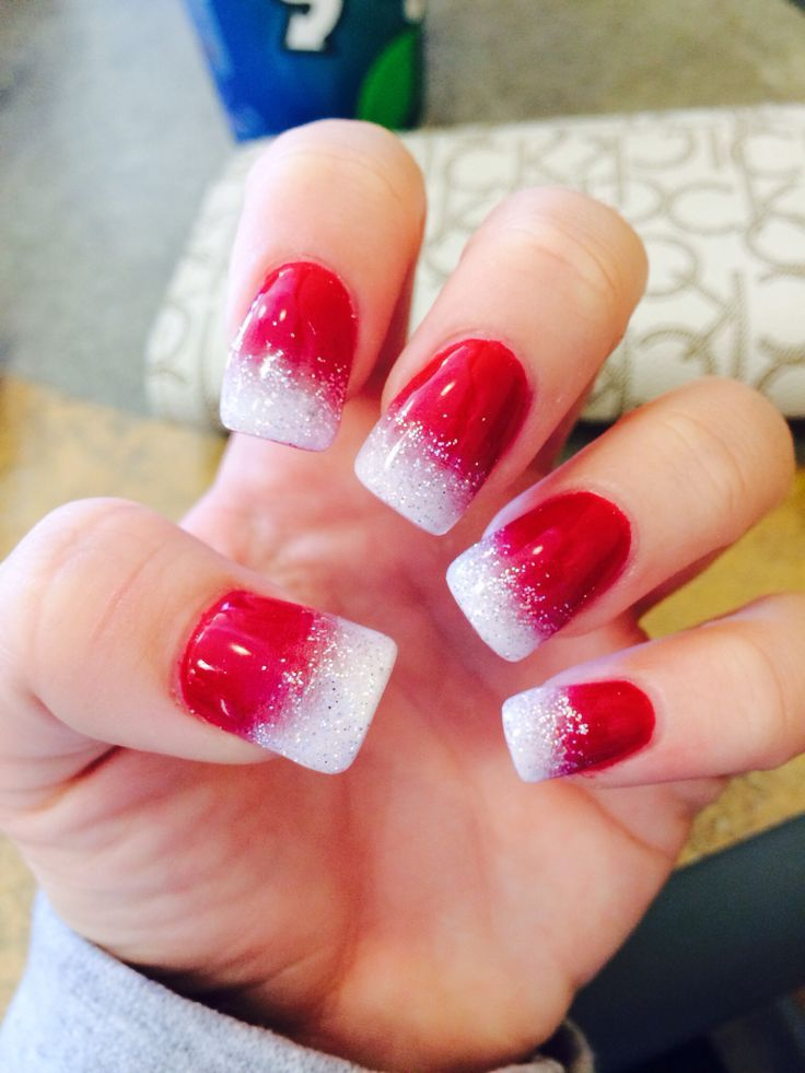 black and red ombre acrylic nails photo - 1