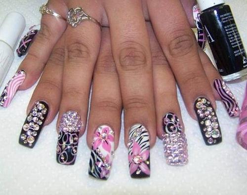 black bling stiletto nails photo - 2