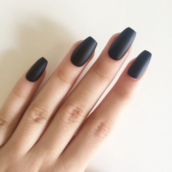 Black coffin acrylic nails - Expression Nails