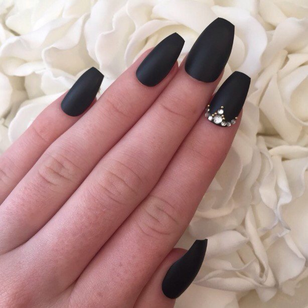 Black Coffin Nails With Rhinestones Photo