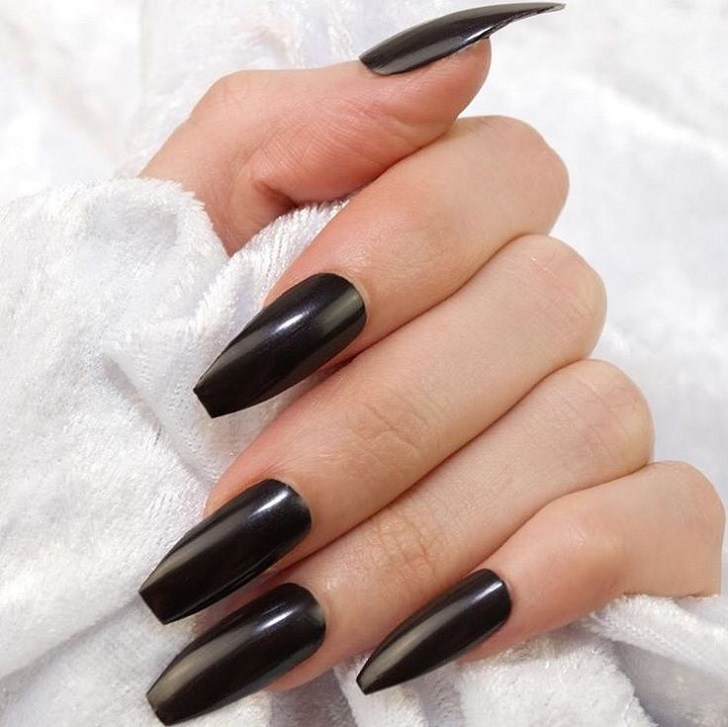 black coffin shaped nails with white designs photo - 2