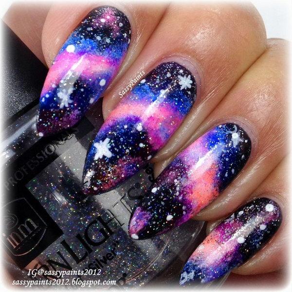 black galaxy acrylic nails photo - 1