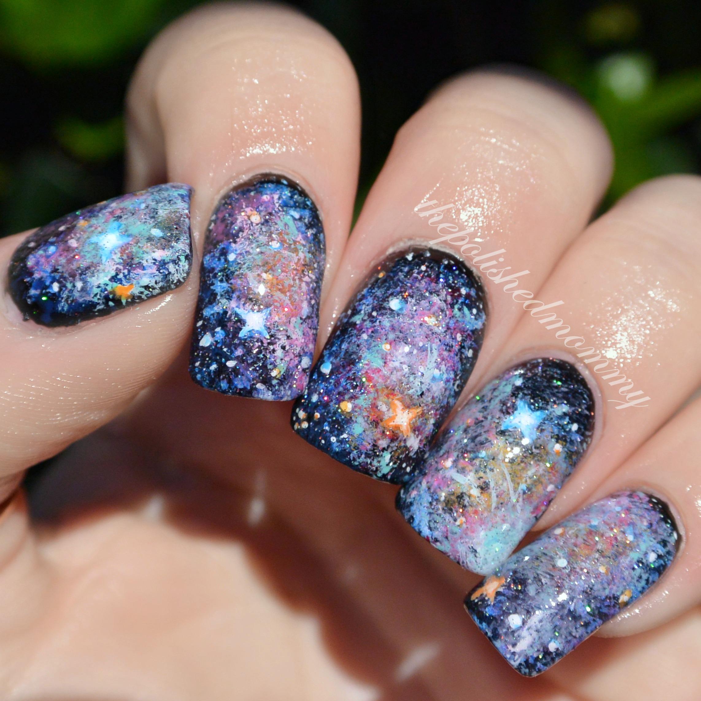 black galaxy acrylic nails photo - 2