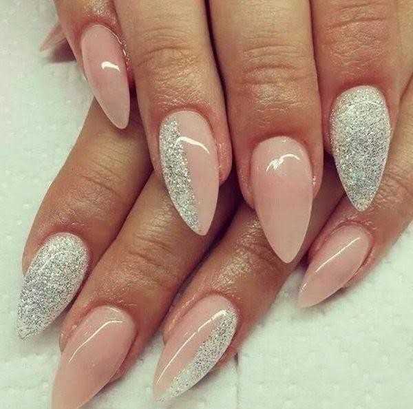 black glitter short stiletto nails photo - 1
