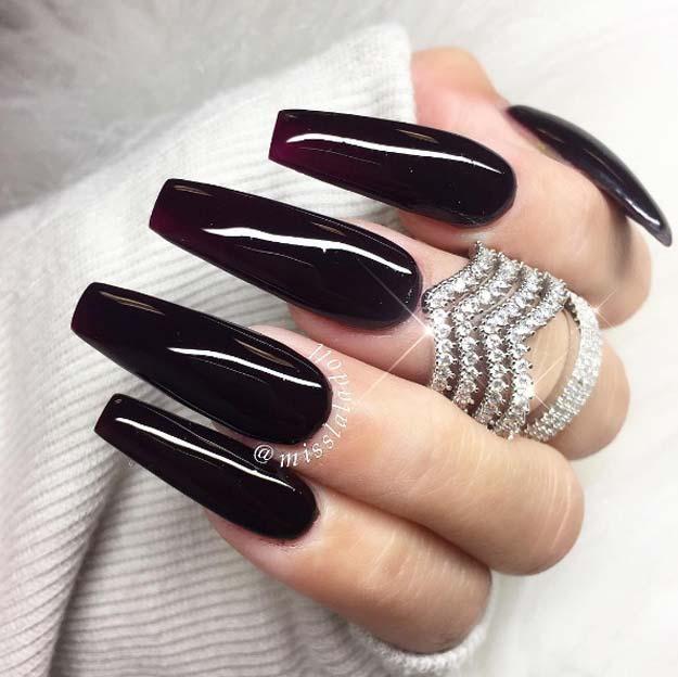 Black long coffin nails , New Expression Nails