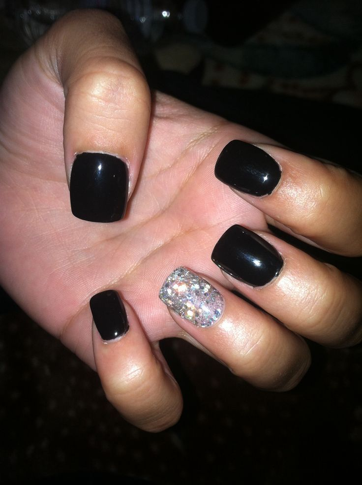 black nails gel photo - 2