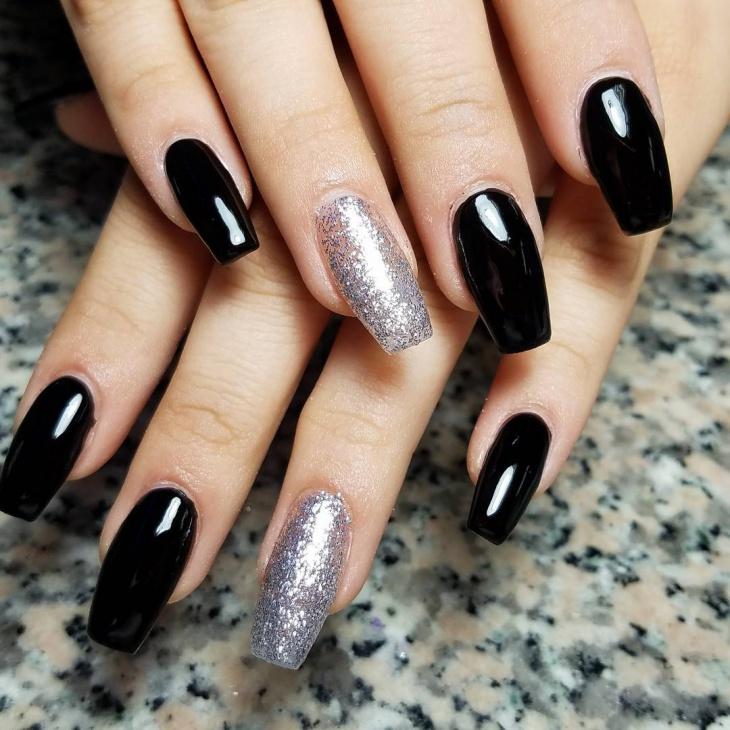 Black sparkle coffin nails - Expression Nails