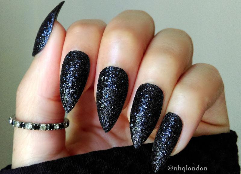 black sparkly stiletto nails photo - 1