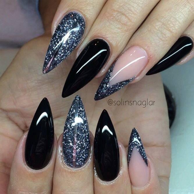 black sparkly stiletto nails photo - 2