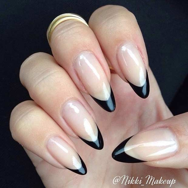 black stiletto french nails photo - 1