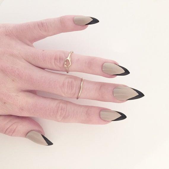 black stiletto french nails photo - 2