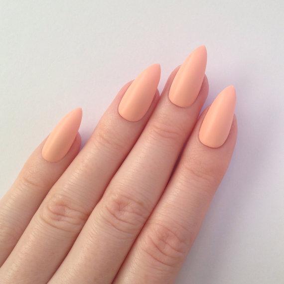 black stiletto nails stick on photo - 1