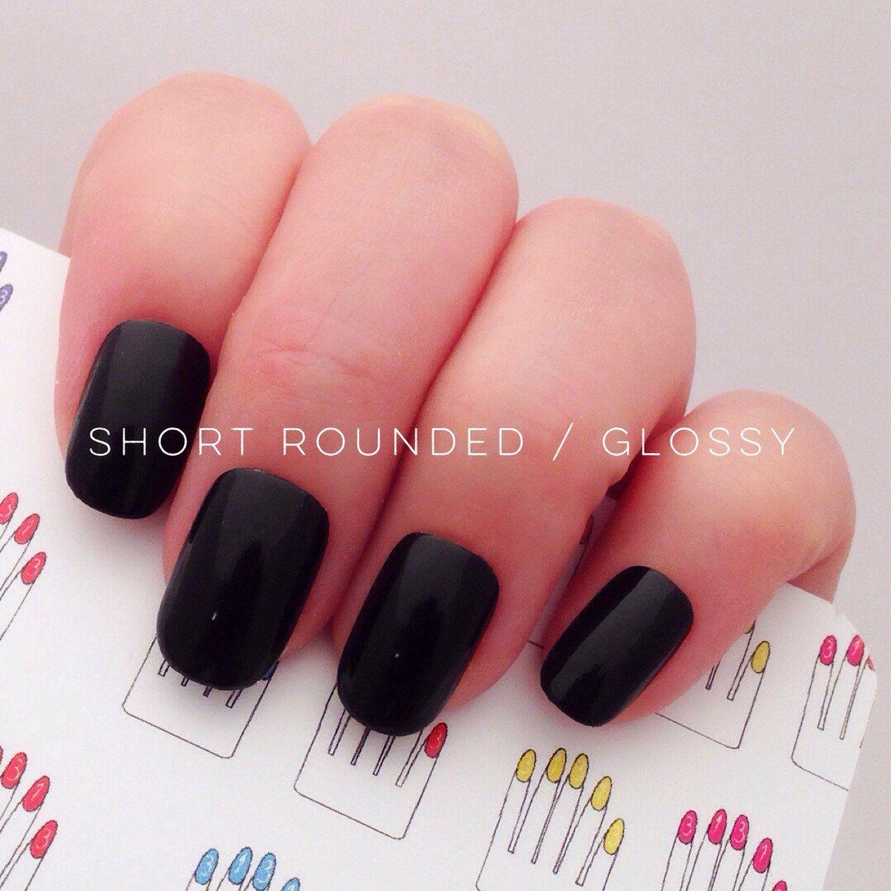 black stiletto nails stick on photo - 2