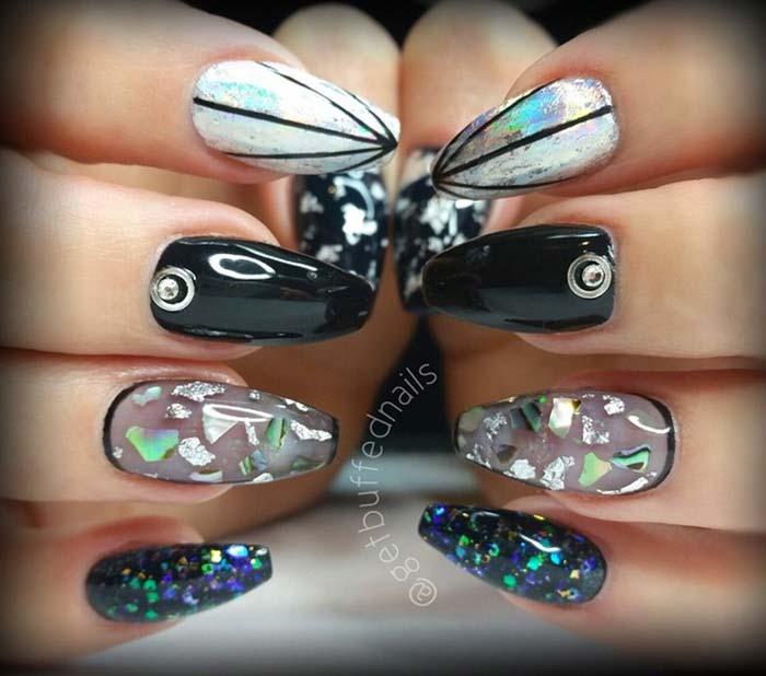 blue acrylic nails designs photo - 1