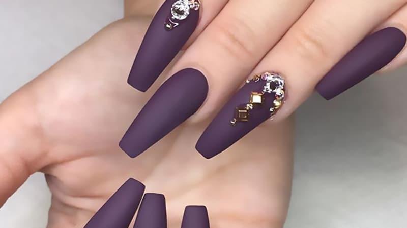 blue and purple acrylic nails photo - 1