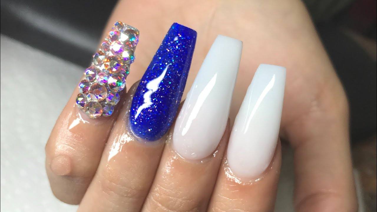 Blue And White Coffin Nails New Expression Nails