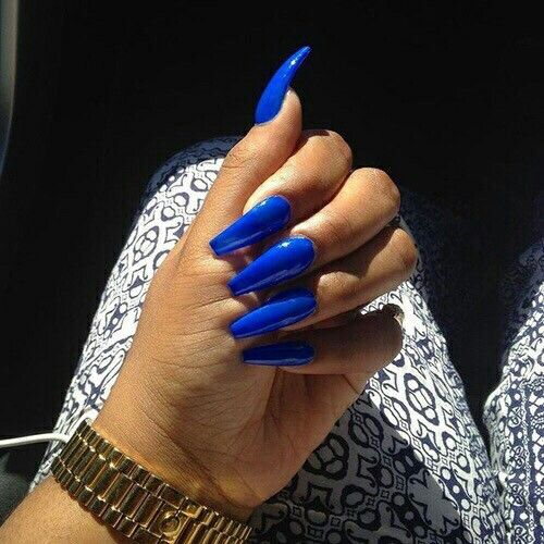 Blue Coffin Acrylic Nails New Expression Nails