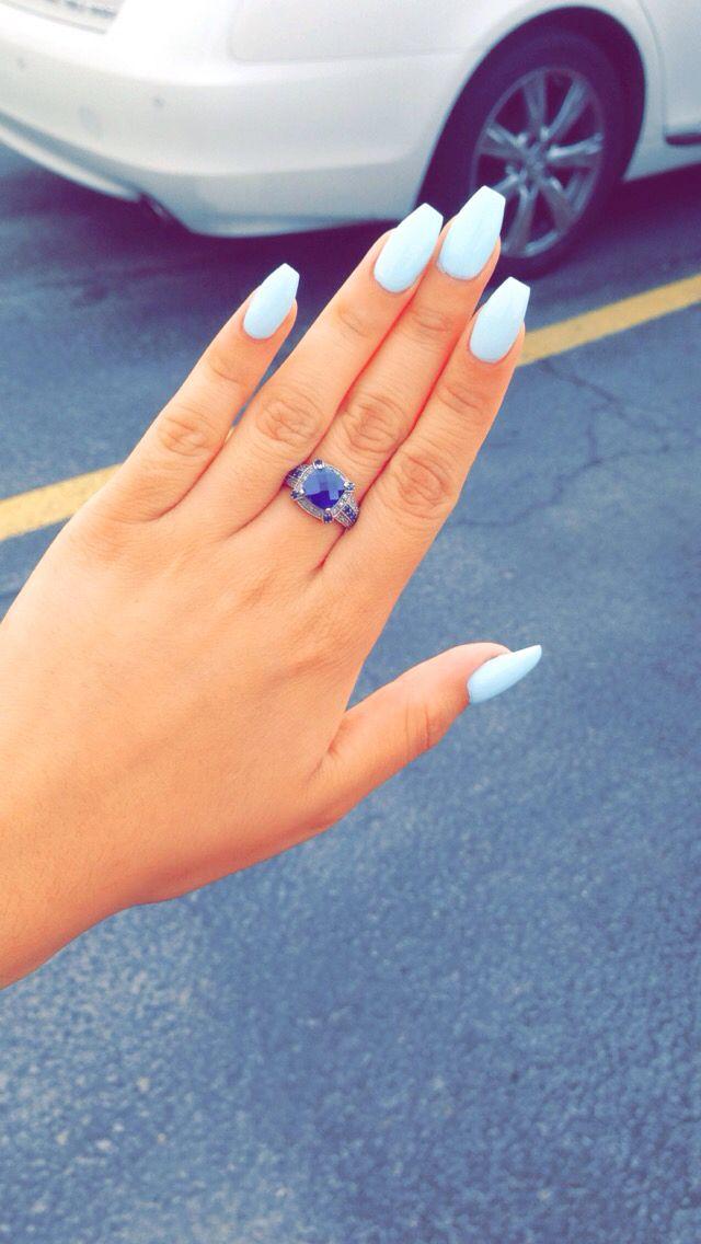 blue coffine acrylic nails photo - 1