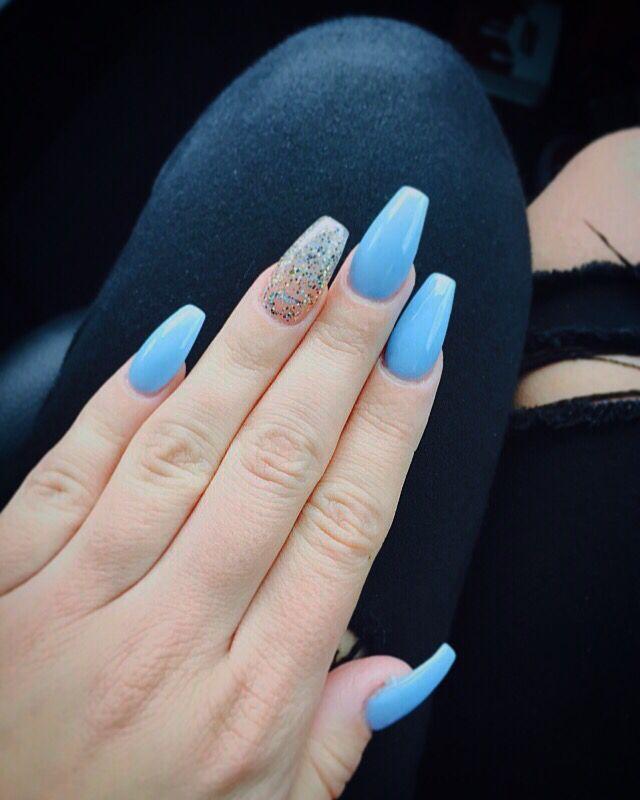 blue coffine acrylic nails photo - 2