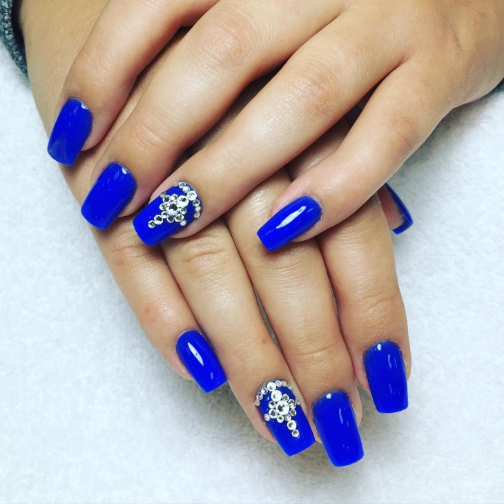 blue gel nails design photo - 1