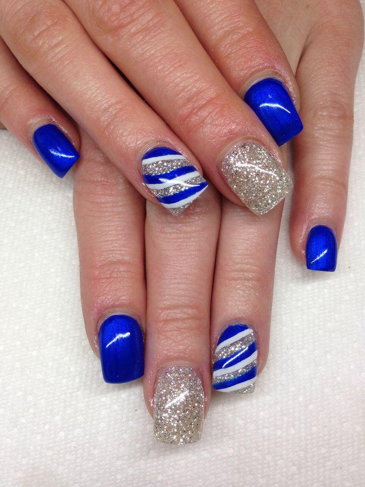 blue gel nails design photo - 2