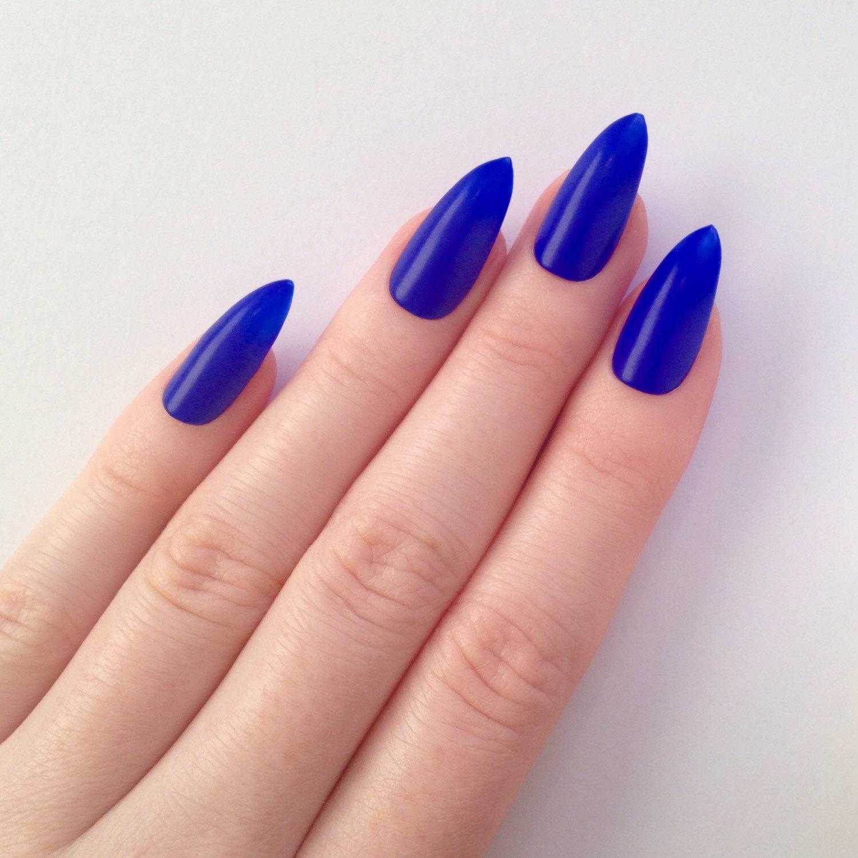 blue matte stiletto nails photo - 1