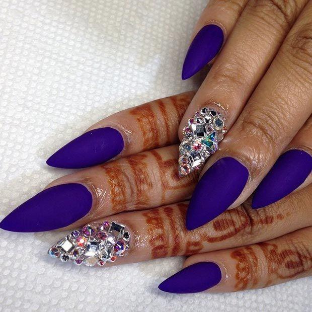 blue matte stiletto nails photo - 2