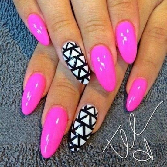bright pink stiletto nails short photo - 2
