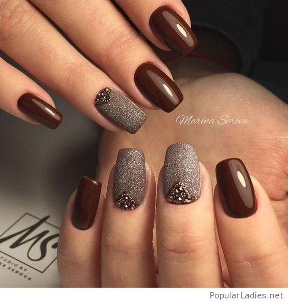 brown gel nails photo - 1