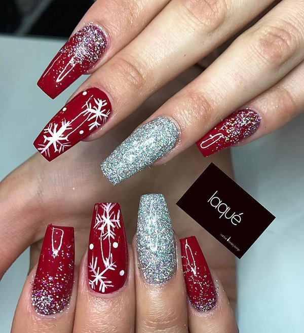 Christmas acrylic nails design coffin