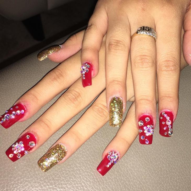 christmas long acrylic nails photo - 2