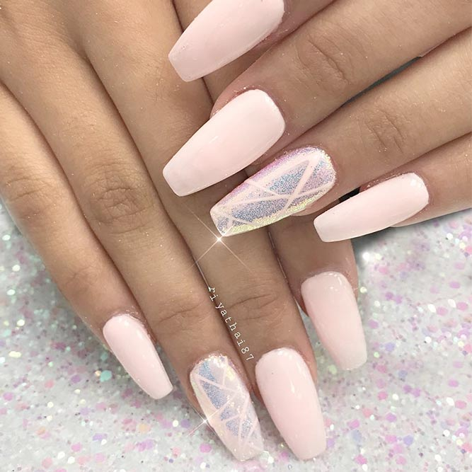 classy and pink coffin nails with designs photo - 2