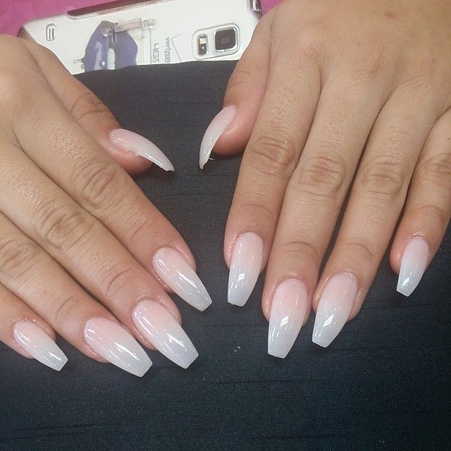 clear coffin shaped nails photo - 2
