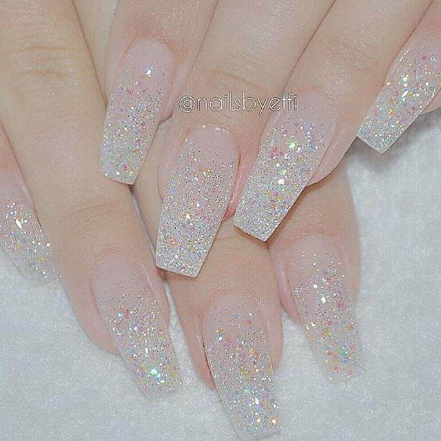 clear stiletto nails with glitter photo - 2