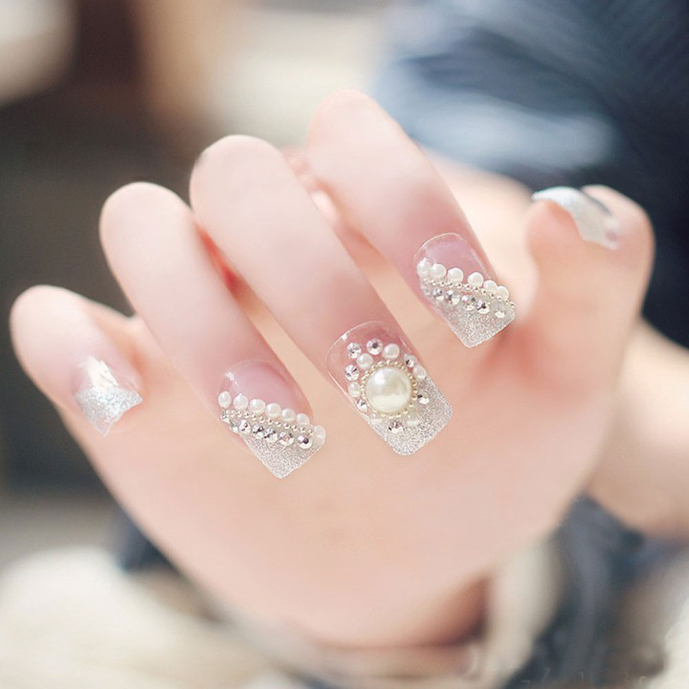 clear tips acrylic nails photo - 2