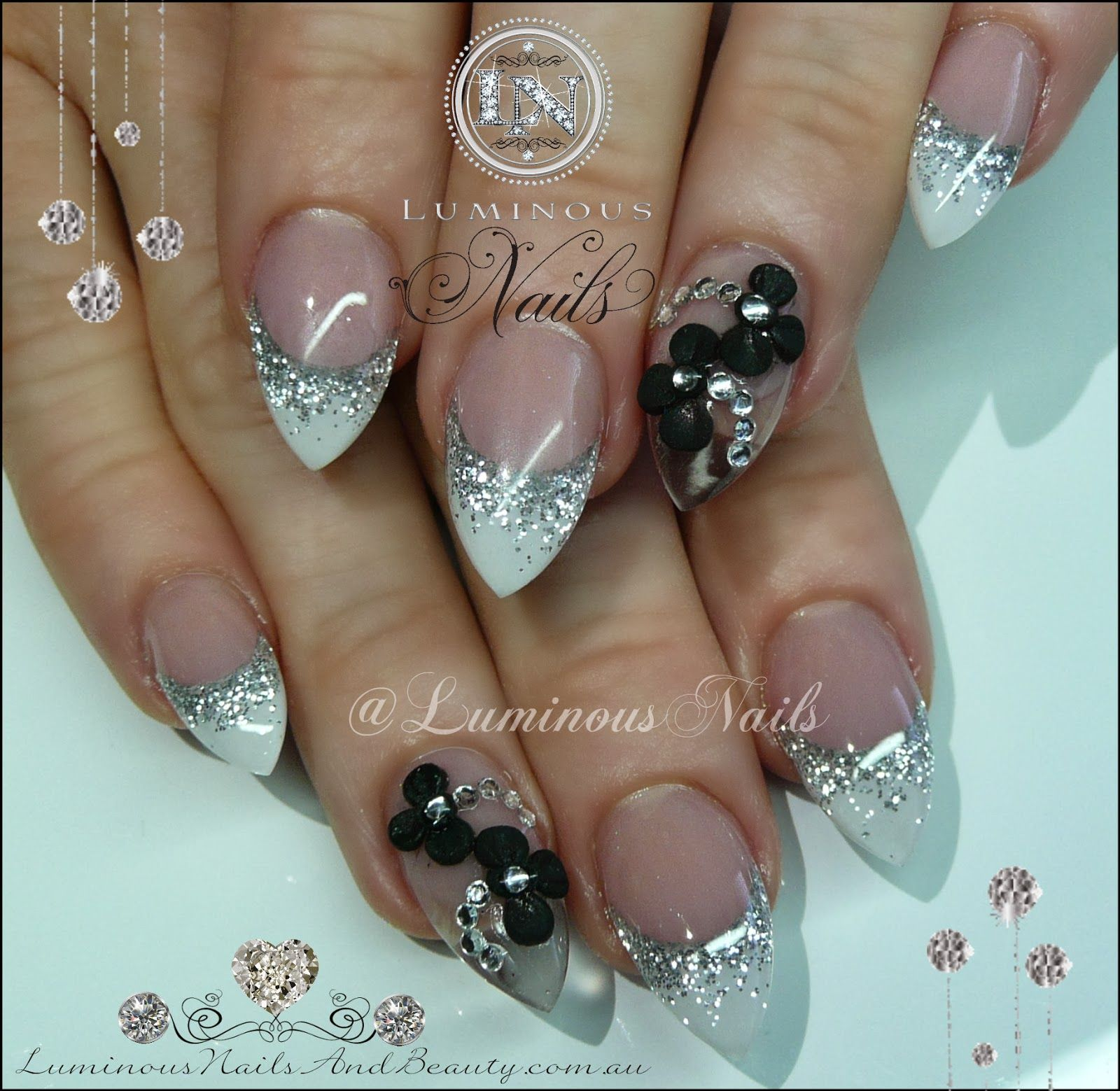 clear translucent luminescent opal stiletto nails photo - 2
