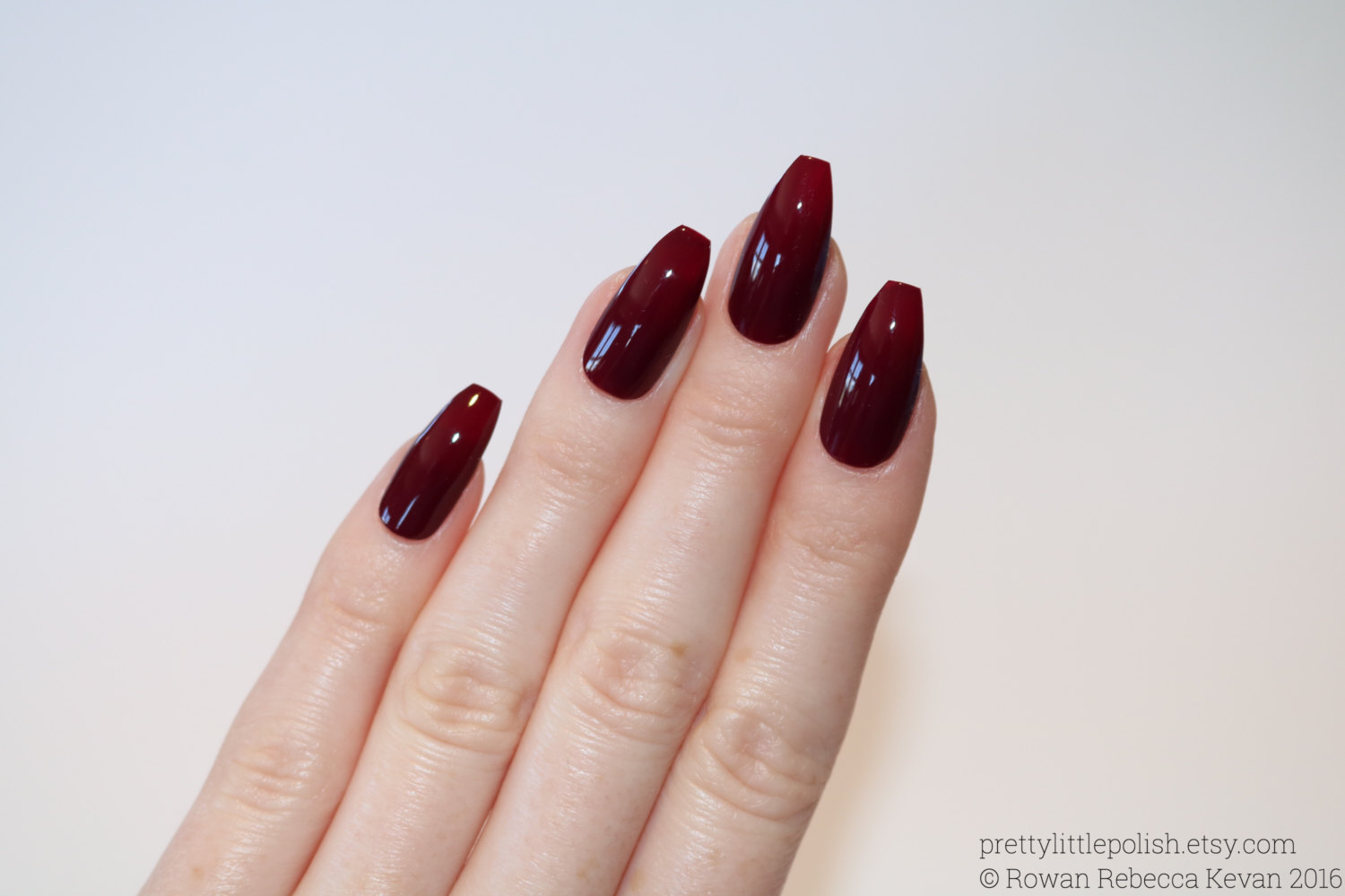 coffin acrylic nails burgundy photo - 1