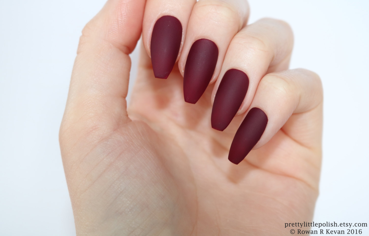 coffin acrylic nails burgundy photo - 2