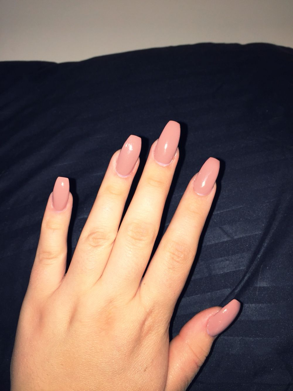 coffin acrylic nails nude photo - 2