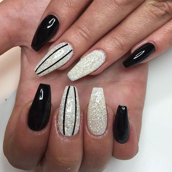 Coffin Black Nails Photo