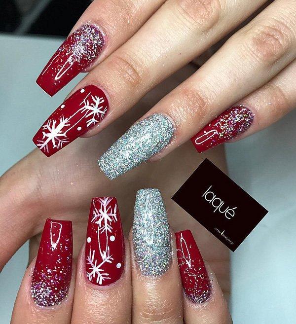 coffin christmas acrylic nails photo - 2