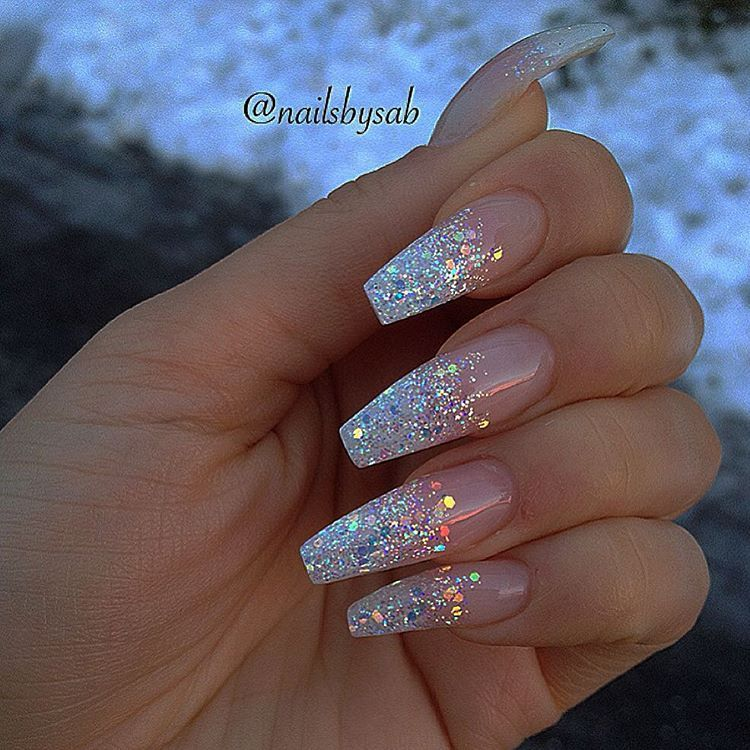 coffin clear glitter nails photo - 2