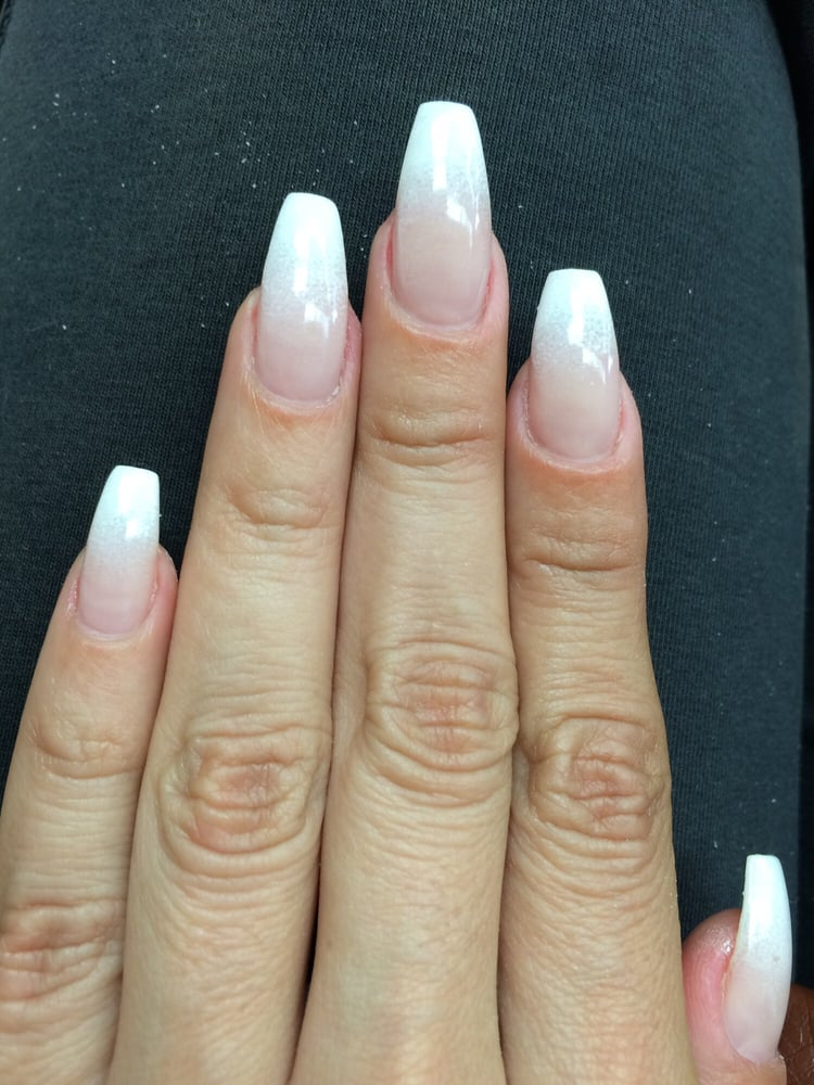 coffin french ombre nails photo - 2