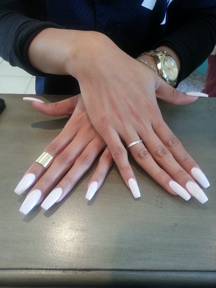 Coffin french tip nails - Expression Nails