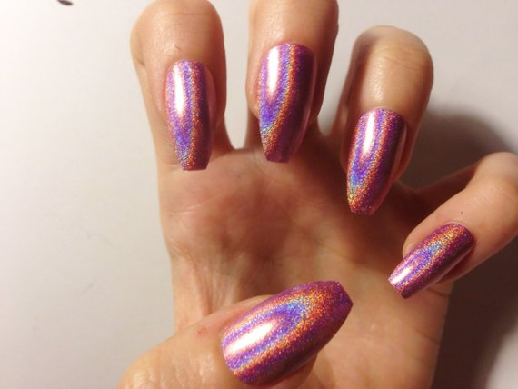 coffin holographic nails photo - 1