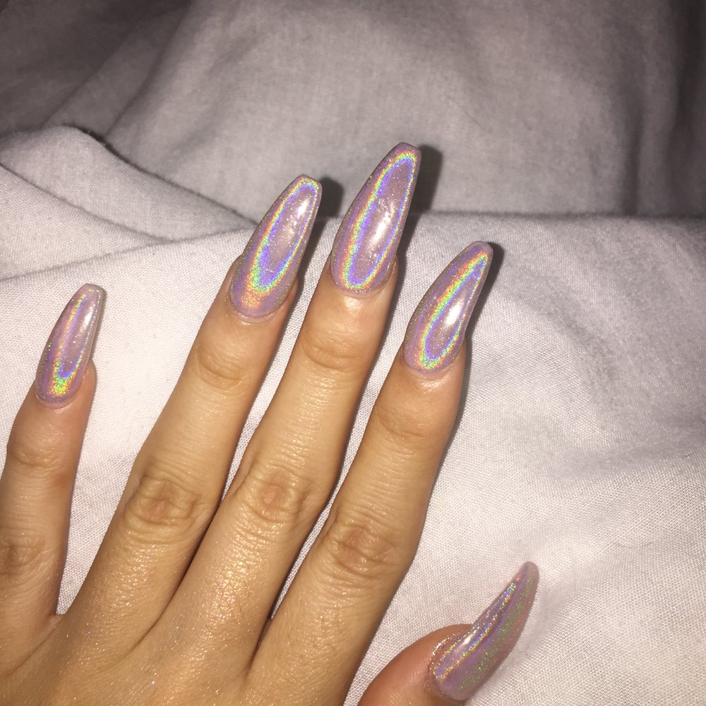 coffin holographic nails photo - 2