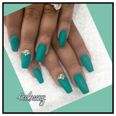 coffin matte turquoise nails photo - 1