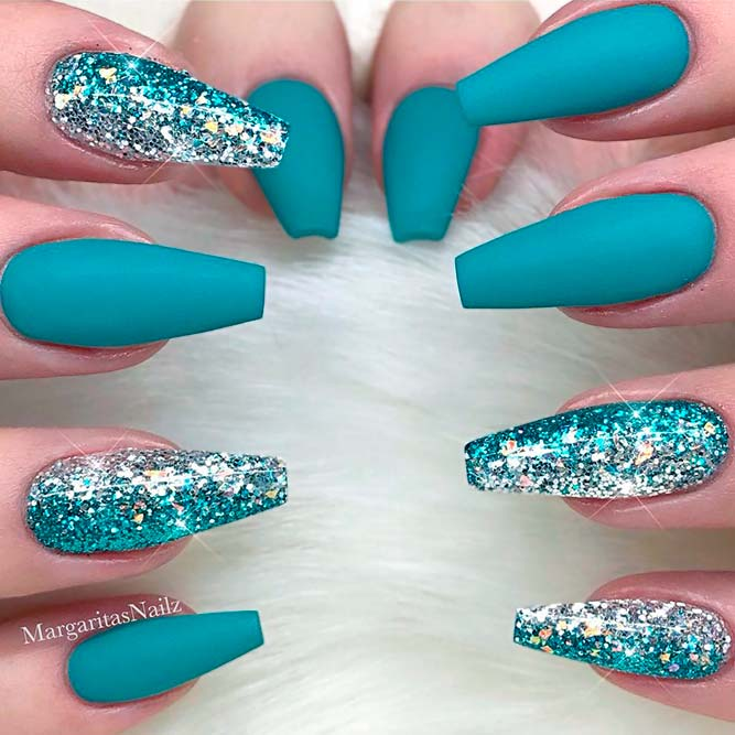 coffin matte turquoise nails photo - 2